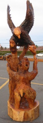 Eagle and Bear Sculpture - Product Image