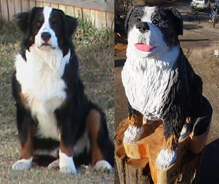 Bernese Mountain dog chainsaw carving