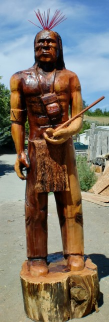 Chainsaw Carving of an Indian Warrior