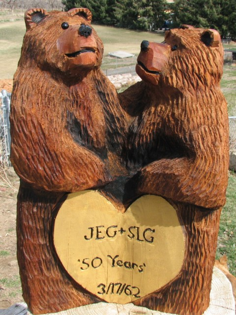 Anniversary Bears chainsaw carving