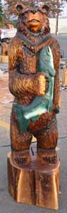 Bear with Fish Wood Carving