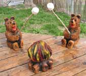 Bears Roasting Marshmallows Carvings