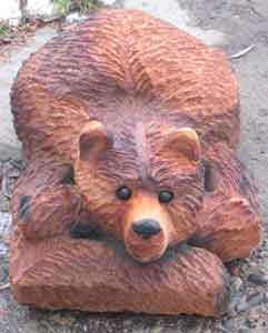 Chainsaw Carved Laying Bear