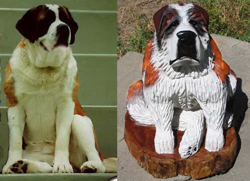 St. Bernard dog chainsaw carving