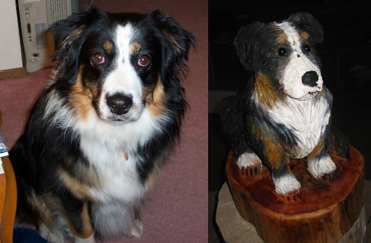 Australian Shepherd dog chainsaw carving