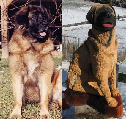Leonberger dog chainsaw carving