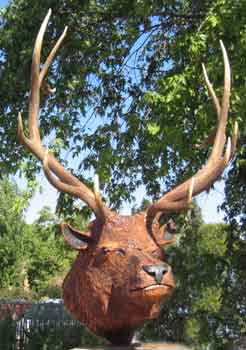 Elk Head Mount chainsaw carving