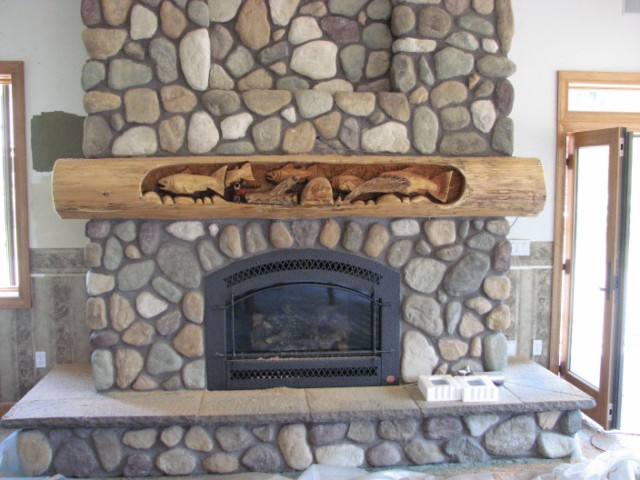 Fireplace Mantel chainsaw carving
