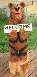 3' Welcome Bear Carving