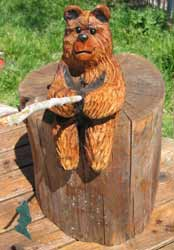 Fishing Bear Wood Carving