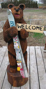 3' Ski Bear  chainsaw carving