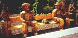 Wood Carving Cowboy Bench