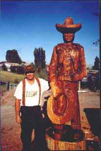Chainsaw Carving of a Working Cowboy