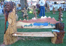 Waterfall Fountian Grizzly Bear and Fish Bench Carving