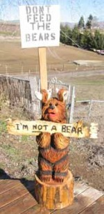 Custom I'm Not a Bear Carving with Carved Sign - Product Image