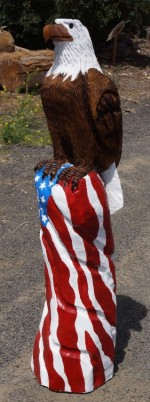 4' Eagle Pearched on an American Flag - Product Image