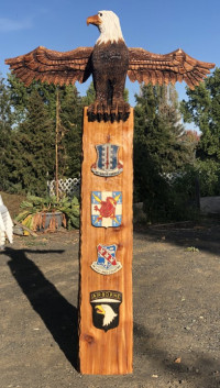 8' Veteran Totem Pole - Product Image
