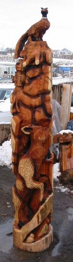 8 feet Western Stylized Totem Pole - Product Image