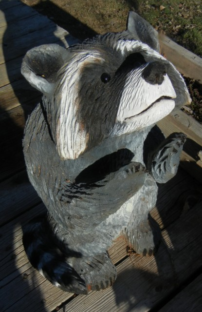 Raccoon chain saw carving