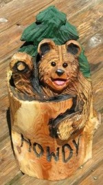 Bear in Stump with Tree - Product Image